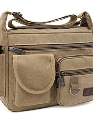 cheap -Men's Bags Canvas Shoulder Messenger Bag Crossbody Bag Canvas Bag Daily Outdoor Black Khaki Green Brown
