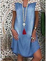 Χαμηλού Κόστους -Γυναικεία Φορέματα τζιν Μίνι φόρεμα - Κοντομάνικο Συνδυασμός Χρωμάτων Καλοκαίρι Καθημερινό Καθημερινά 2020 Θαλασσί M L XL XXL XXXL