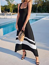 Χαμηλού Κόστους -Γυναικεία Φόρεμα σε γραμμή Α Μακρύ φόρεμα - Αμάνικο Συνδυασμός Χρωμάτων Καλοκαίρι Καθημερινό Καθημερινά 2020 Μαύρο M L XL XXL XXXL