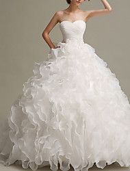 cheap -Ball Gown Wedding Dresses Strapless Floor Length Chiffon Organza Sleeveless Formal with Pick Up Skirt Beading 2020