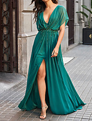 cheap -A-Line Elegant Sparkle Engagement Formal Evening Dress V Neck Short Sleeve Sweep / Brush Train Chiffon with Beading Split 2020