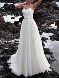 cheap -A-Line Wedding Dresses Jewel Neck Court Train Chiffon Sleeveless Beach with Lace Insert Appliques 2021