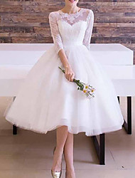 cheap -A-Line Wedding Dresses Jewel Neck Ankle Length Lace Tulle Long Sleeve Vintage 1950s with Sashes / Ribbons 2020