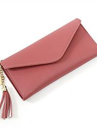 رخيصةأون -نسائي شرابة جلد PU محافظ لون الصلبة وردي بلاشيهغ