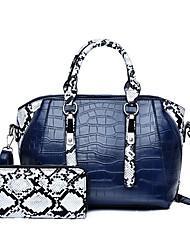 cheap -Women's Bags PU Leather Leather Bag Set 2 Pieces Purse Set Buttons Zipper Daily Outdoor Bag Sets 2021 Handbags Black Blue Red Brown