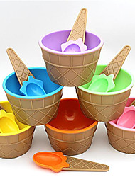 cheap -Spoon for Ice Cream Bowl with A Wonderful Gift Children Love Dessert Bowls Cup Six Colors Hot Sale