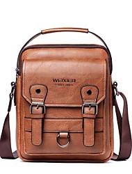 cheap -Men's Bags PU Leather Shoulder Messenger Bag Crossbody Bag Daily Office & Career Handbags Dark Brown