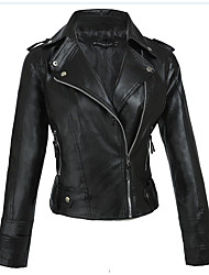 cheap -Women's Shirt Collar Faux Leather Jacket Regular Solid Colored Work Black S M L XL / Slim