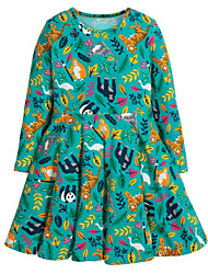 cheap -Toddler Girls' Animal Long Sleeve Dress Green