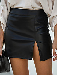 cheap -Women's Daily Wear Sexy Bodycon Skirts Solid Colored Split Black / Mini