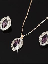 cheap -Women's White AAA Cubic Zirconia Stud Earrings Choker Necklace Bridal Jewelry Sets Tennis Chain Mini Stylish Luxury Earrings Jewelry Purple / Green For Wedding Party Engagement 1 set