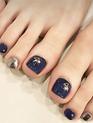 cheap -Smoky Blue Rivets Toe Nails Wearing Nail Art Patches Finished Products 24 Fake Nails Foot Patches