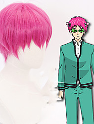 cheap -The Disastrous Life of Saiki K. Saiki Kusuo Cosplay Wigs Men's With Bangs 12 inch Heat Resistant Fiber Straight Pink Adults' Anime Wig