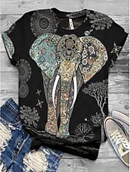 Χαμηλού Κόστους -Γυναικεία T-shirt Ζώο Άριστος Στρογγυλή Λαιμόκοψη Καθημερινά Μαύρο Τ M L XL 2XL 3XL 4XL 5XL