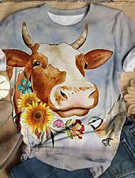 cheap -Women's T-shirt Floral Animal Flower Long Sleeve Print Round Neck Tops Basic Basic Top Light gray Rainbow Light Blue