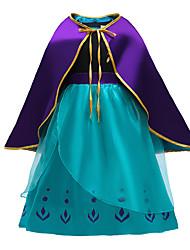 cheap -Anna Dress Cosplay Costume Girls' Movie Cosplay Vacation Dress Halloween Blue Dress Cloak Christmas Halloween New Year Polyester / Cotton
