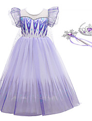 cheap -Frozen Dress Cosplay Costume Party Costume Girls' Movie Cosplay Vacation Dress Halloween Purple Dress Wand Halloween New Year Polyester / Cotton