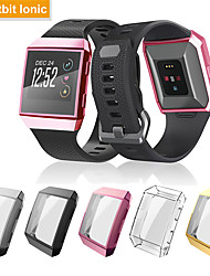 cheap -Screen Protector Case for Fitbit ionic TPU Rugged Bumper Case Cover All-Around Protective Plated Bumper Shell Accessories Scratch-Proof Compatible