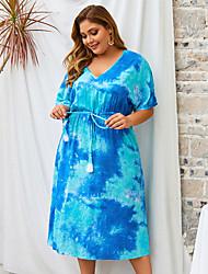 cheap -Women's Shift Dress Midi Dress - Half Sleeve Print Tie Dye Summer Casual Daily 2020 Blue Green XL XXL XXXL XXXXL
