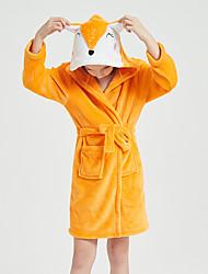cheap -Kid's Kigurumi Pajamas Bathrobe Oodie Fox Onesie Pajamas Flannel Fabric Orange Cosplay For Boys and Girls Animal Sleepwear Cartoon Festival / Holiday Costumes / Bath Robe