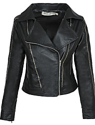 cheap -Women's Shirt Collar Faux Leather Jacket Regular Solid Colored Daily Black S M L XL / Work / Slim