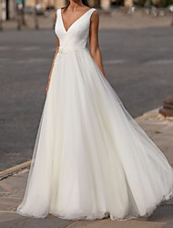 cheap -A-Line Wedding Dresses V Neck Sweep / Brush Train Chiffon Tulle Sleeveless Simple with Appliques 2021