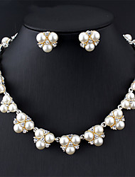 cheap -Women's White Pearl Bridal Jewelry Sets Hollow Out Flower Boho Earrings Jewelry Silver For Festival 1 set