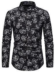 billige -Herre Grafisk Trykt mønster Skjorte Forretning Basale Daglig Hvid / Guld / Sølv
