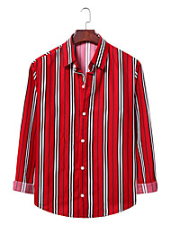 billige -Herre Stribet Skjorte Forretning Basale Daglig I-byen-tøj Rød / Kakifarvet