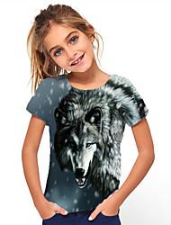 cheap -Kids Girls' T shirt Tee Short Sleeve Wolf Geometric Animal Print Black Children Tops Summer Basic Holiday