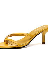 povoljno -Žene Sandale Ljeto Stiletto potpetica Trg Toe Dnevno Jednobojni PU Crn / Bijela