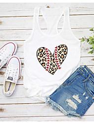 cheap -Women's T-shirt Heart Graphic Prints Letter Print Round Neck Tops Slim 100% Cotton Basic Basic Top White