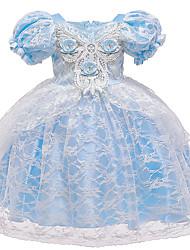 cheap -Cinderella Princess Elsa Dress Flower Girl Dress Girls' Movie Cosplay A-Line Slip Vacation Dress Blue Dress Halloween Children's Day Masquerade Polyester