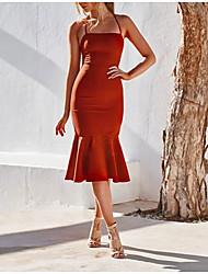 cheap -Women's Sheath Dress Knee Length Dress - Sleeveless Solid Color Print Summer Strapless Sexy Slim 2020 Yellow Orange S M L XL