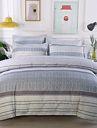cheap -4-Pieces Bedding Set Stripe Line Print Gray Duvet Cover Set Ultra Soft and Easy Care, Bedding Queen Size Set
