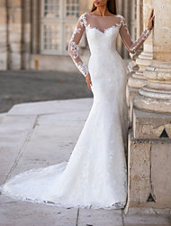 cheap -Mermaid / Trumpet Wedding Dresses Jewel Neck Court Train Lace Tulle Long Sleeve Formal with Appliques 2021