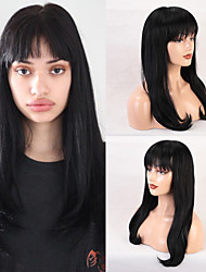cheap -Remy Human Hair Wig Very Long Straight Natural Straight Neat Bang With Bangs Black Women Fashion Natural Hairline Capless Women's All Natural Black #1B 24 inch / African American Wig