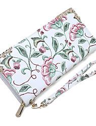 cheap -Women's Zipper PU Leather Wallet Floral Print Beige / Fall & Winter