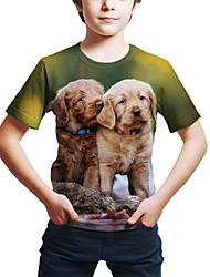 olcso -Gyerekek Kisgyermek Fiú Aktív Utcai sikk Kutya 3D Állat Nyomtatott Rövid ujjú Póló Lóhere