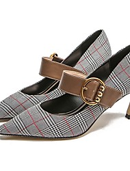 cheap -Women's Heels Summer Stiletto Heel Pointed Toe Daily Plaid / Check PU Khaki / Blue / Gray