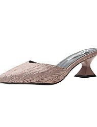 cheap -Women's Clogs & Mules Summer Flare Heel Pointed Toe Daily Satin Black / Pink