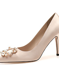 cheap -Women's Heels / Wedding Shoes 2020 Spring / Fall Stiletto Heel Pointed Toe Classic Basic Sweet Daily Party & Evening Rhinestone / Imitation Pearl Solid Colored Satin Pink / White / Almond / White