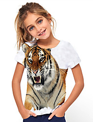cheap -Kids Girls' Basic Holiday Tiger Geometric Animal Print Short Sleeve Tee White