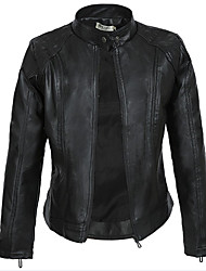 cheap -Women's Stand Collar Faux Leather Jacket Regular Solid Colored Daily Black S M L XL / Work