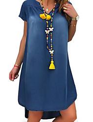 cheap -Women's Denim Dress Knee Length Dress - Short Sleeve Summer V Neck Casual Vacation Loose 2020 Black Blue Light Blue S M L XL XXL XXXL