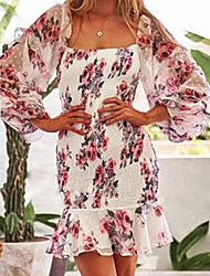 cheap -Women's Chiffon Dress Short Mini Dress - Long Sleeve Floral Summer Boho 2020 White S M L XL