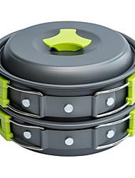 cheap -Bowl Camping Cookware Mess Kit Camping Pot with Pan Folding Aluminium for 1 - 2 person Outdoor Picnic Black / Orange Black Green 2 * Camping Pot 2 * Pot Lid