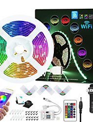 cheap -7.5M WIFI App Controlled Music Sync Colour Changing RGB LED Strip Lights with 24-Key Remote Sensitive Built-in Mic 5050 RGB LED Light Strip Kit DC12V
