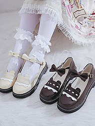 cheap -Women's Lolita Shoes Summer Flat Heel Round Toe Daily Solid Colored PU Dark Brown / Black / Ivory
