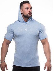 cheap -Men's Workout Tops Running Shirt Short Sleeve Breathable Quick Dry Soft Fitness Gym Workout Performance Running Training Sportswear Normal Hoodie Top Burgundy Dark Gray Light Blue Activewear Stretchy